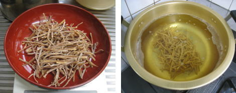 Boil the dried Menma in 85-90℃ hot water